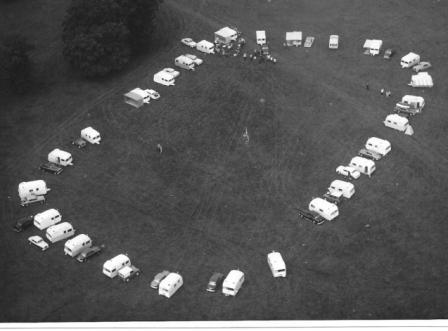 Black and white aerial photo of the rally field